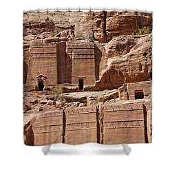 Rock Cut Tombs On The Street Of Facades Petra Jordan Shower Curtain by Robert Preston