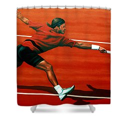 Roger Federer At Roland Garros Shower Curtain by Paul Meijering