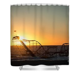 Roller Coaster Sunrise Shower Curtain by Michael Ver Sprill