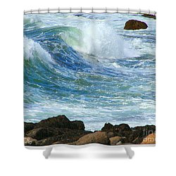 Rough Seas Shower Curtain by Mariarosa Rockefeller