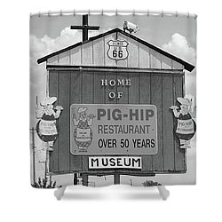 Route 66 - Pig-hip Restaurant Shower Curtain by Frank Romeo