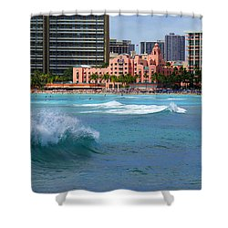 Royal Hawaiian Hotel Shower Curtain by Kevin Smith