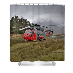 Royal Navy Sar Sea King Xz920 Glencoe Shower Curtain by Gary Eason