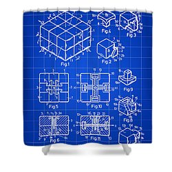 Rubik's Cube Patent 1983 - Blue Shower Curtain