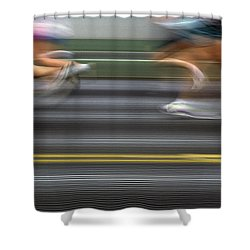 Runners Blurred Shower Curtain by Jim Corwin