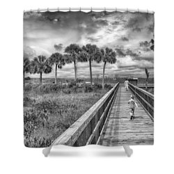 Running Shower Curtain by Howard Salmon