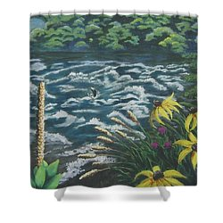 Rushing Water Shower Curtain by Suzanne Theis