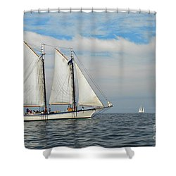 Sailing The Open Seas Shower Curtain by Allen Beatty