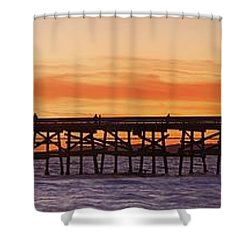 San Clemente Municipal Pier In Sunset Shower Curtain by Richard Cummins
