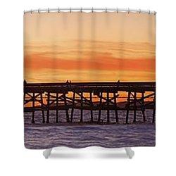 San Clemente Municipal Pier In Sunset Shower Curtain by Richard Cummins