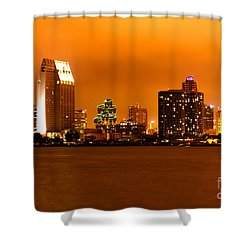 San Diego Skyline At Night Shower Curtain by Paul Velgos