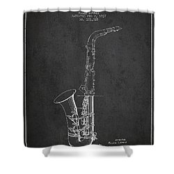 Saxophone Patent Drawing From 1937 - Dark Shower Curtain by Aged Pixel