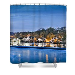 Schuylkill River  Boathouse Row Lit At Night  Shower Curtain
