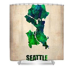 Seattle Watercolor Map Shower Curtain by Naxart Studio