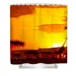 Serengeti Sunset Shower Curtain by Sebastian Musial