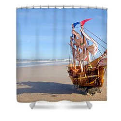 Ship Model On Summer Sunny Beach Shower Curtain by Michal Bednarek