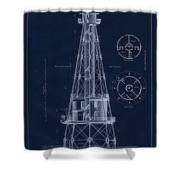 Ship Shoal Lighthouse Drawing Shower Curtain by Jerry McElroy