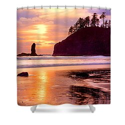 Silhouette Of Sea Stacks At Sunset Shower Curtain by Panoramic Images