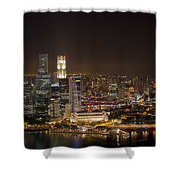Singapore City Skyline At Night Shower Curtain by David Gn