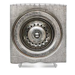Sink Plug Shower Curtain by Tim Hester