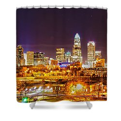 Shower Curtain featuring the photograph Skyline Of Uptown Charlotte North Carolina At Night by Alex Grichenko