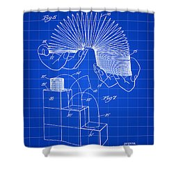 Slinky Patent 1946 - Blue Shower Curtain
