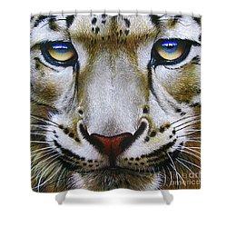 Snow Leopard Shower Curtain by Jurek Zamoyski