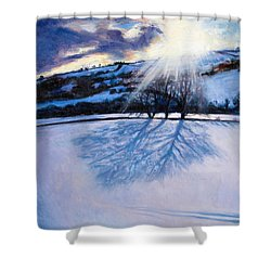 Snow Shadows Shower Curtain by Tilly Willis