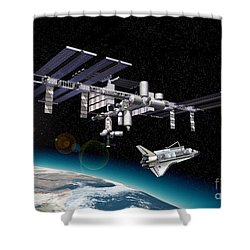 Space Station In Orbit Around Earth Shower Curtain by Leonello Calvetti
