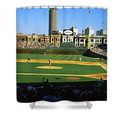 Spectators In A Stadium, Wrigley Field Shower Curtain by Panoramic Images