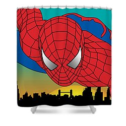 Spiderman  Shower Curtain by Mark Ashkenazi