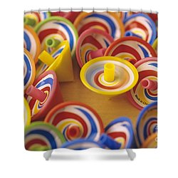 Spinning Tops Shower Curtain by Jim Corwin