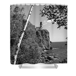 Split Rock Black And White Shower Curtain by Bonfire Photography