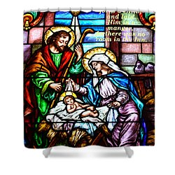 Shower Curtain featuring the photograph St. Marys Nativity Stained Glass by Debby Pueschel
