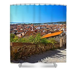 stairway and ancient walls in Carloforte Shower Curtain by Antonio Scarpi