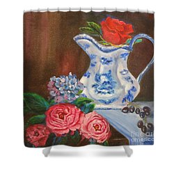 Still Life With Blue And White Pitcher Shower Curtain