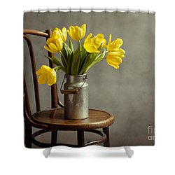 Still Life With Yellow Tulips Shower Curtain by Nailia Schwarz
