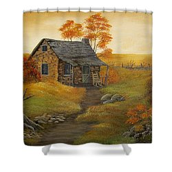 Shower Curtain featuring the painting Stone Cabin by Kathy Sheeran