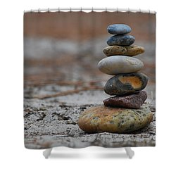 Stone Pyramide Shower Curtain by Hannes Cmarits