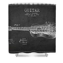 Stratton Guitar Patent Drawing From 1893 Shower Curtain by Aged Pixel