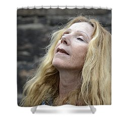 Shower Curtain featuring the photograph Street People - A Touch Of Humanity 2 by Teo SITCHET-KANDA