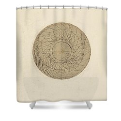 Study Of Water Wheel From Atlantic Codex Shower Curtain by Leonardo Da Vinci
