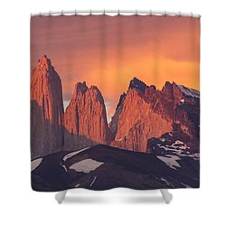 Sunrise Torres Del Paine Np Chile Shower Curtain by Matthias  Breiter