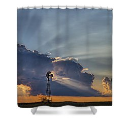 Sunset And Windmill Shower Curtain