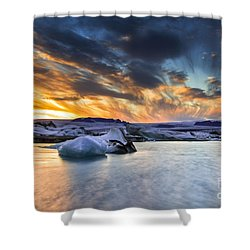 sunset at Jokulsarlon iceland Shower Curtain