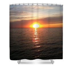 Sunset On The Bay Shower Curtain by Tiffany Erdman