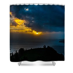 Sunset Over Blue Shower Curtain