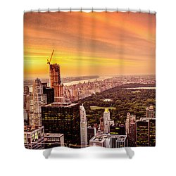 Sunset Over Central Park And The New York City Skyline Shower Curtain by Vivienne Gucwa