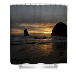 Sunset Over Haystack Rock In Cannon Beach Shower Curtain by David Gn