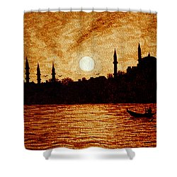 Sunset Over Istanbul Original Coffee Painting Shower Curtain by Georgeta  Blanaru